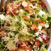 Overhead photo of Celebration Salmon Salad - magnificent show off main dish salad for lunches, Christmas and other holiday feasting occasions!