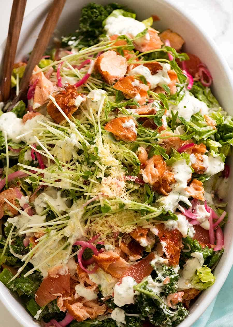 Celebration Salmon Salad with Yoghurt Ranch Dressing