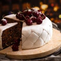 Christmas Cake - easy moist fruit cake decorated with traditional white fondant