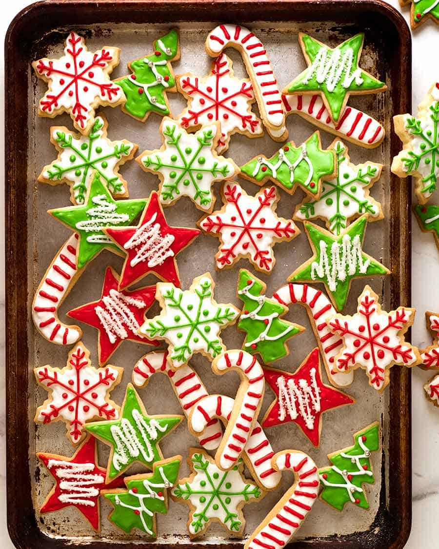 Photo of tray filled with Christmas sugar cookies