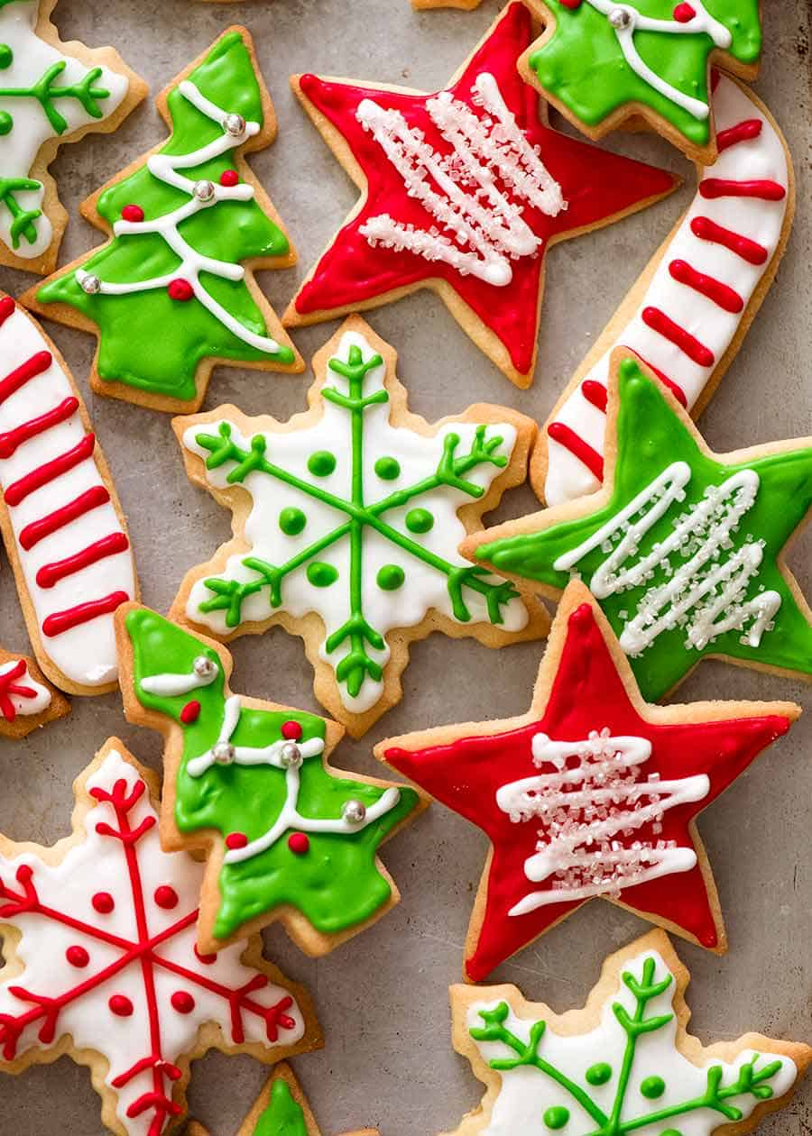 Overhead photo of iced Christmas Cookies on a tray