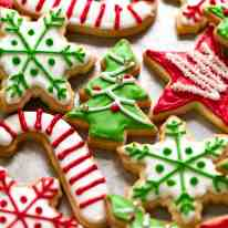 Close up of colourful Christmas Cookies