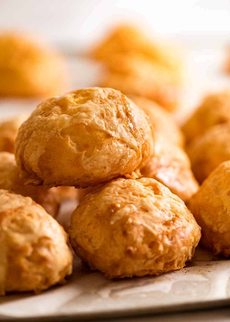 Close up of Gougeres (Cheese Puffs)