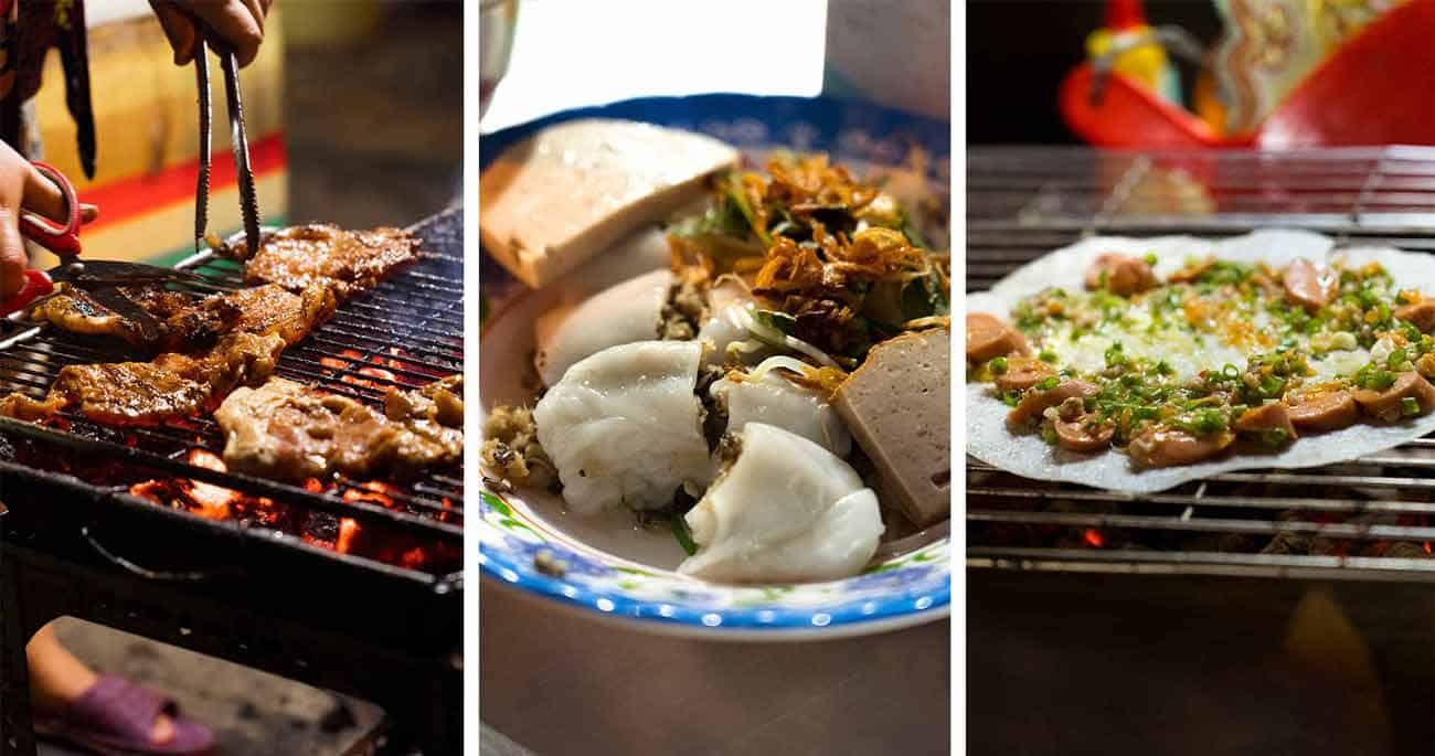 Grilled Pork, Soft Rice Paper Rolls and Crispy Rice Pancakes at Street Food Ghetto in Ho Chi Minh City, Vietnam