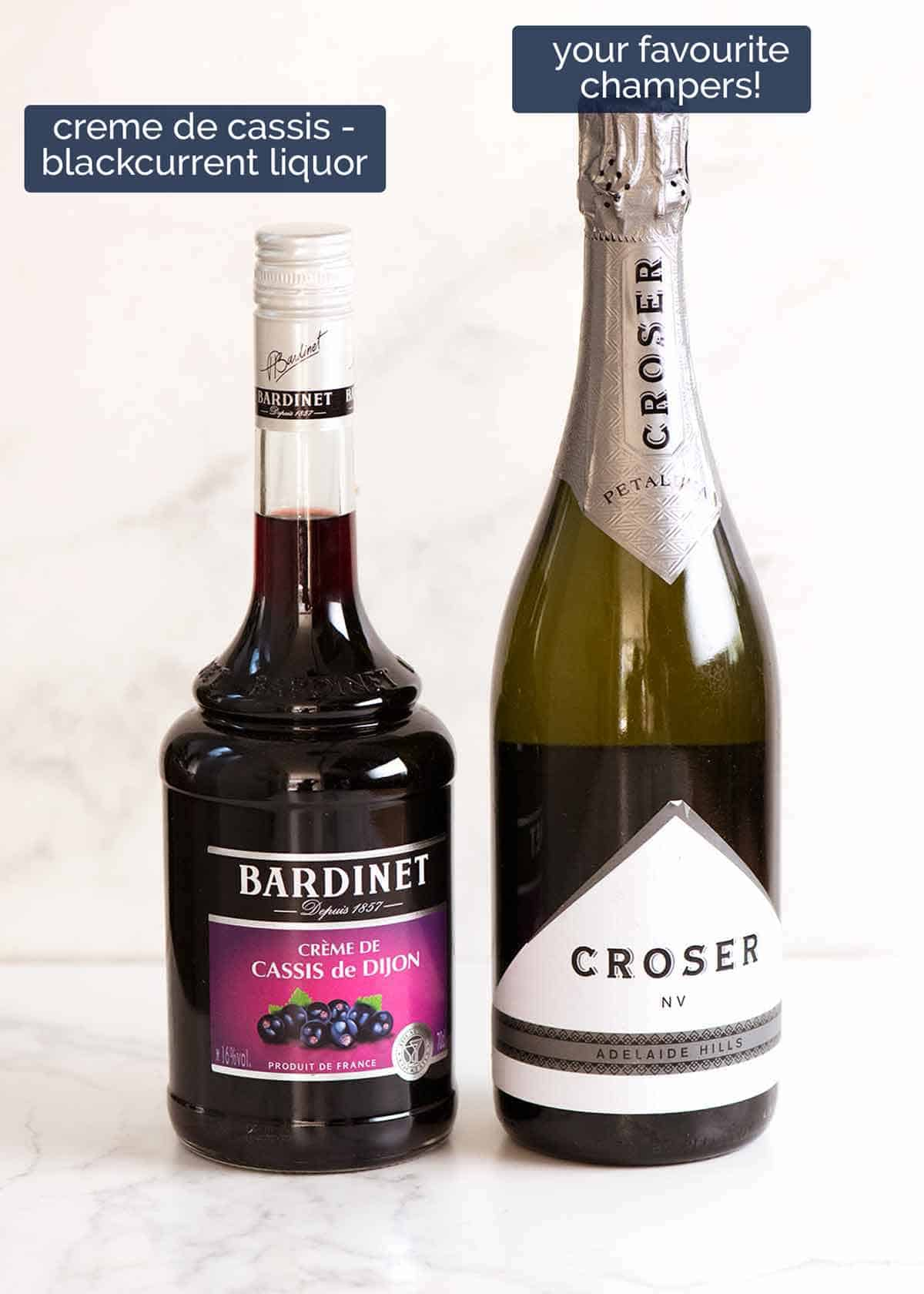 What goes in Kir Royales - champagne and creme de cassis (blackcurrant liquor)