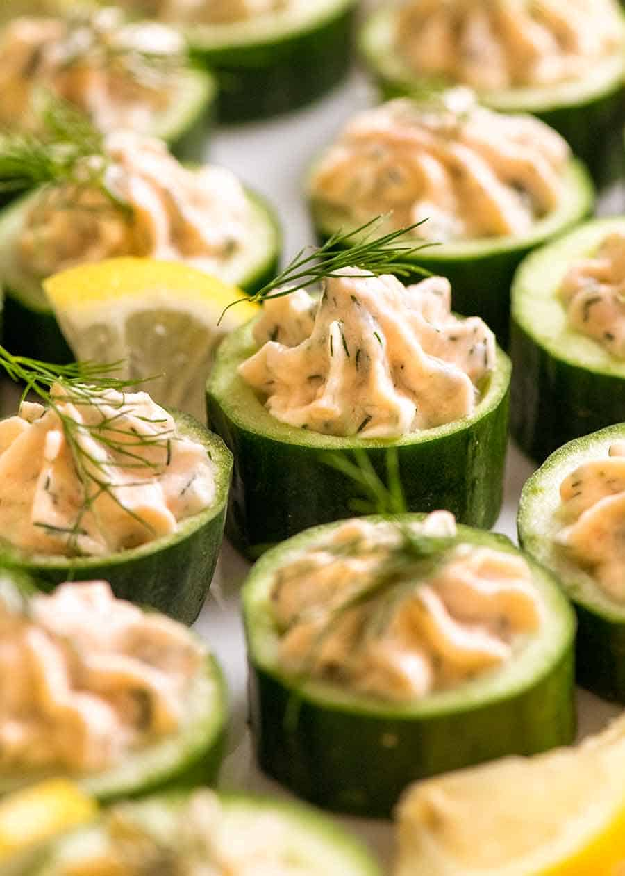 Cucumber Canapés with Smoked Salmon Mousse