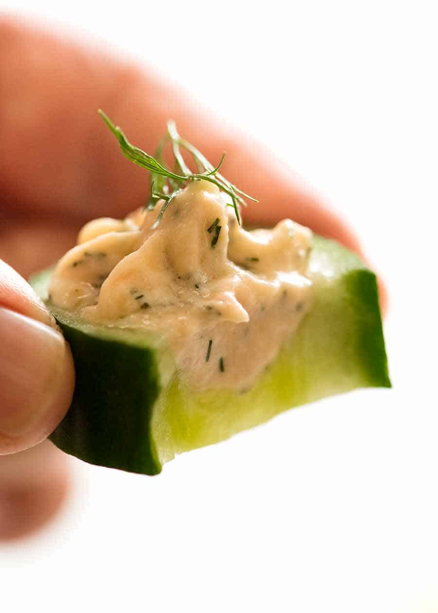 Close up of Cucumber Finger Food with Smoked Salmon Mousse