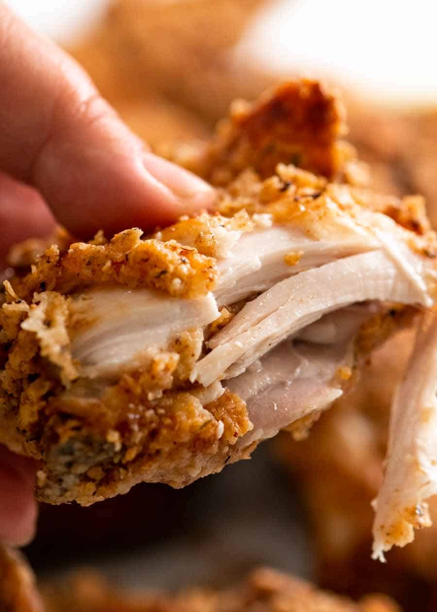 Close up showing inside of Fried Chicken