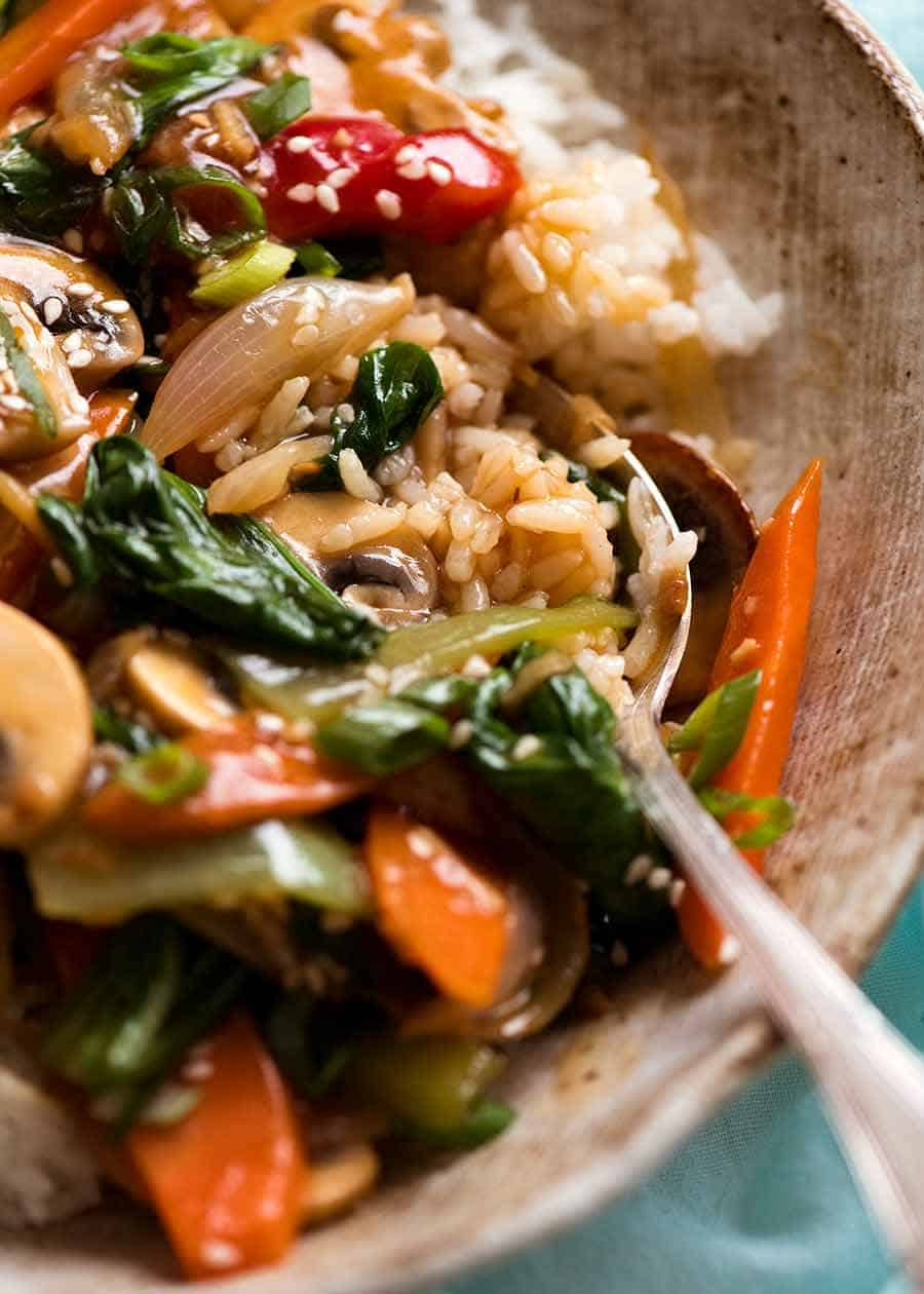 Close up of Vegetable Stir Fry sauce soaked rice