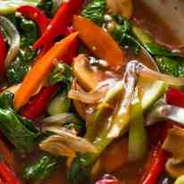 Close up of Vegetable Stir Fry with lots of sauce