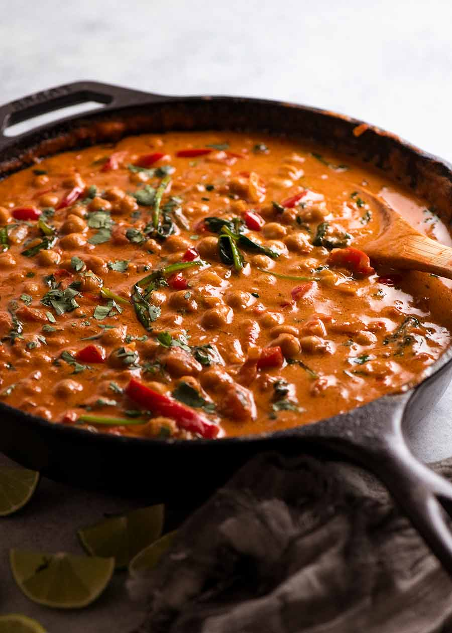 Brazilian Chickpea Stew in a skillet, ready to be served