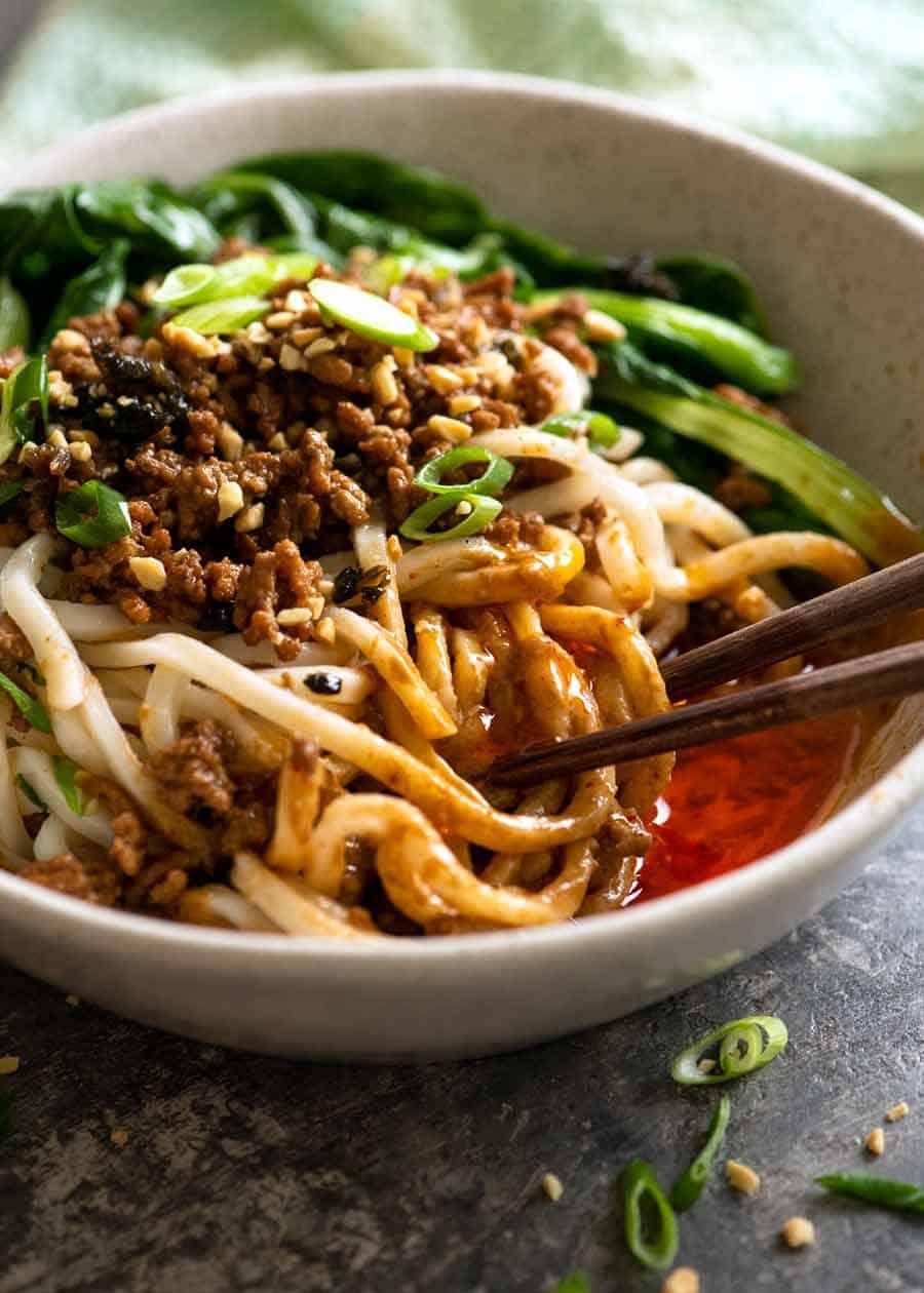 Close up of spicy Sichuan Dan Dan Noodles