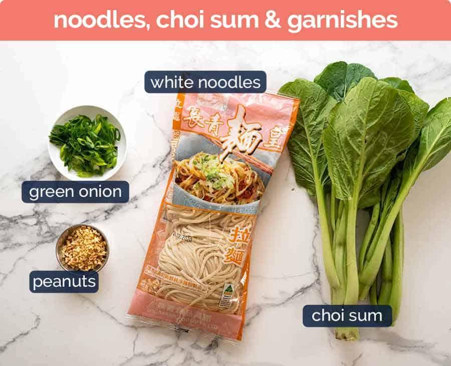 Noodles and garnishes for Dan Dan Noodles