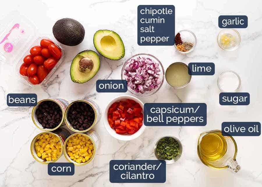 Ingredients for Black Bean Salad with Lime Dressing