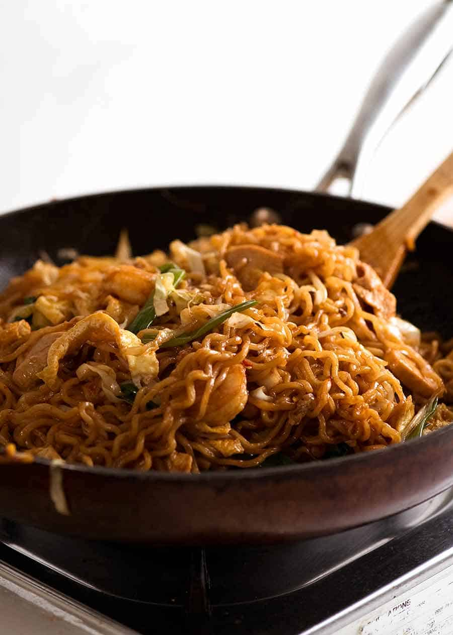 Mie Goreng in a skillet, fresh off the stove