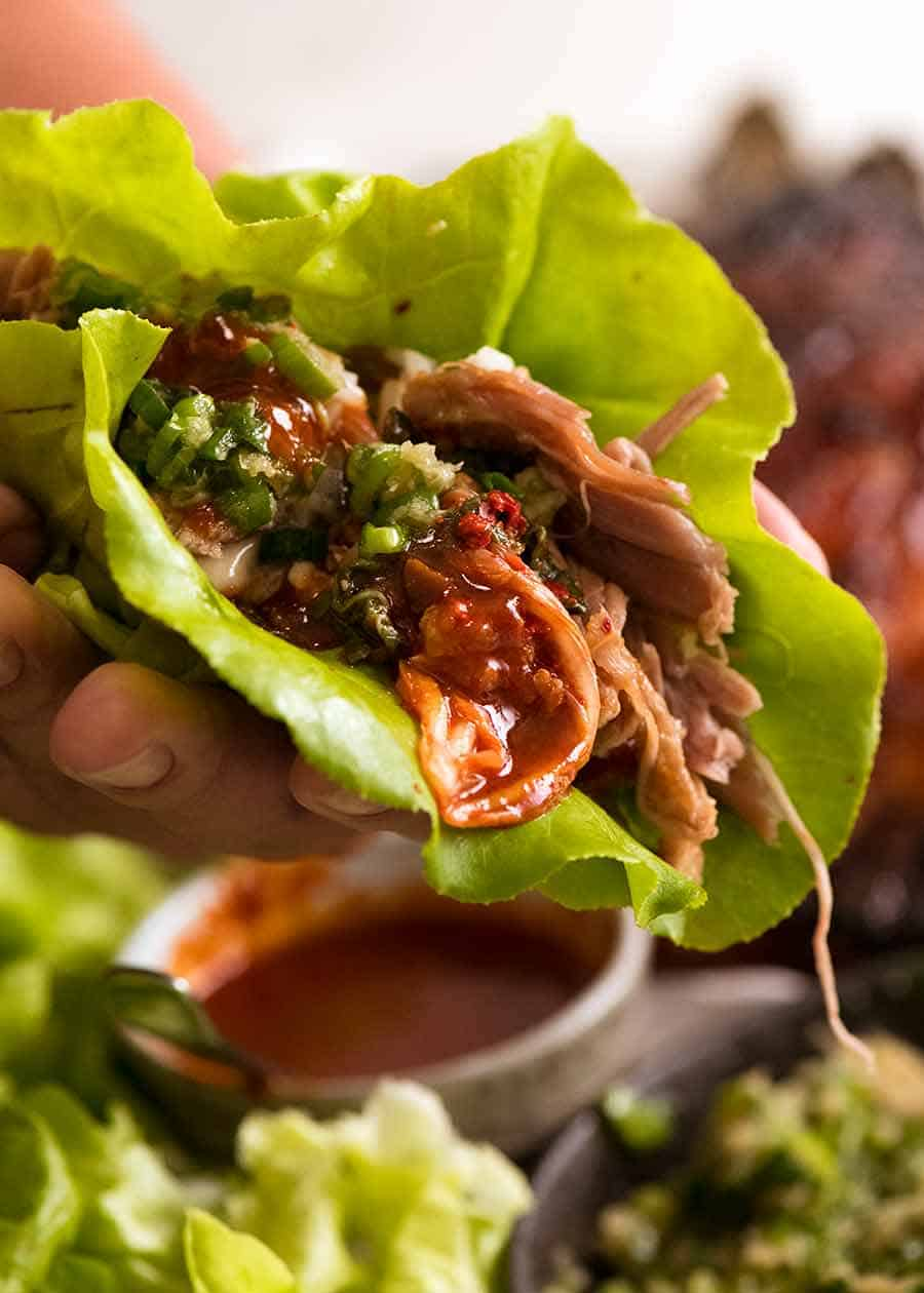Close up of Momofuku Bossam lettuce wrap