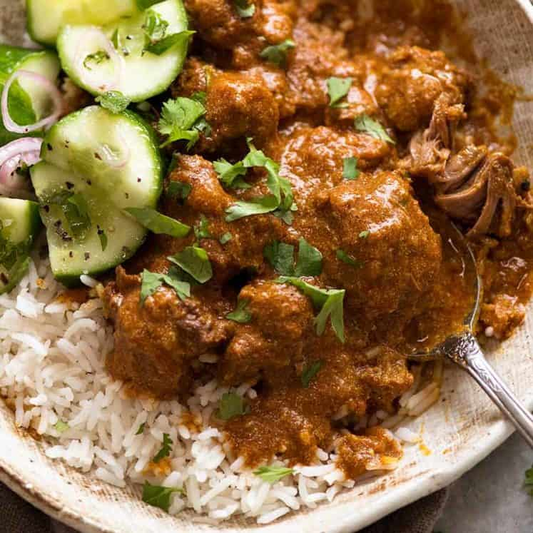 Rogan Josh with steamed Basmati Rice and cucumber salad