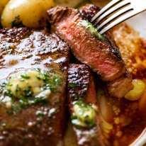Close up of slice of juicy marinated steak
