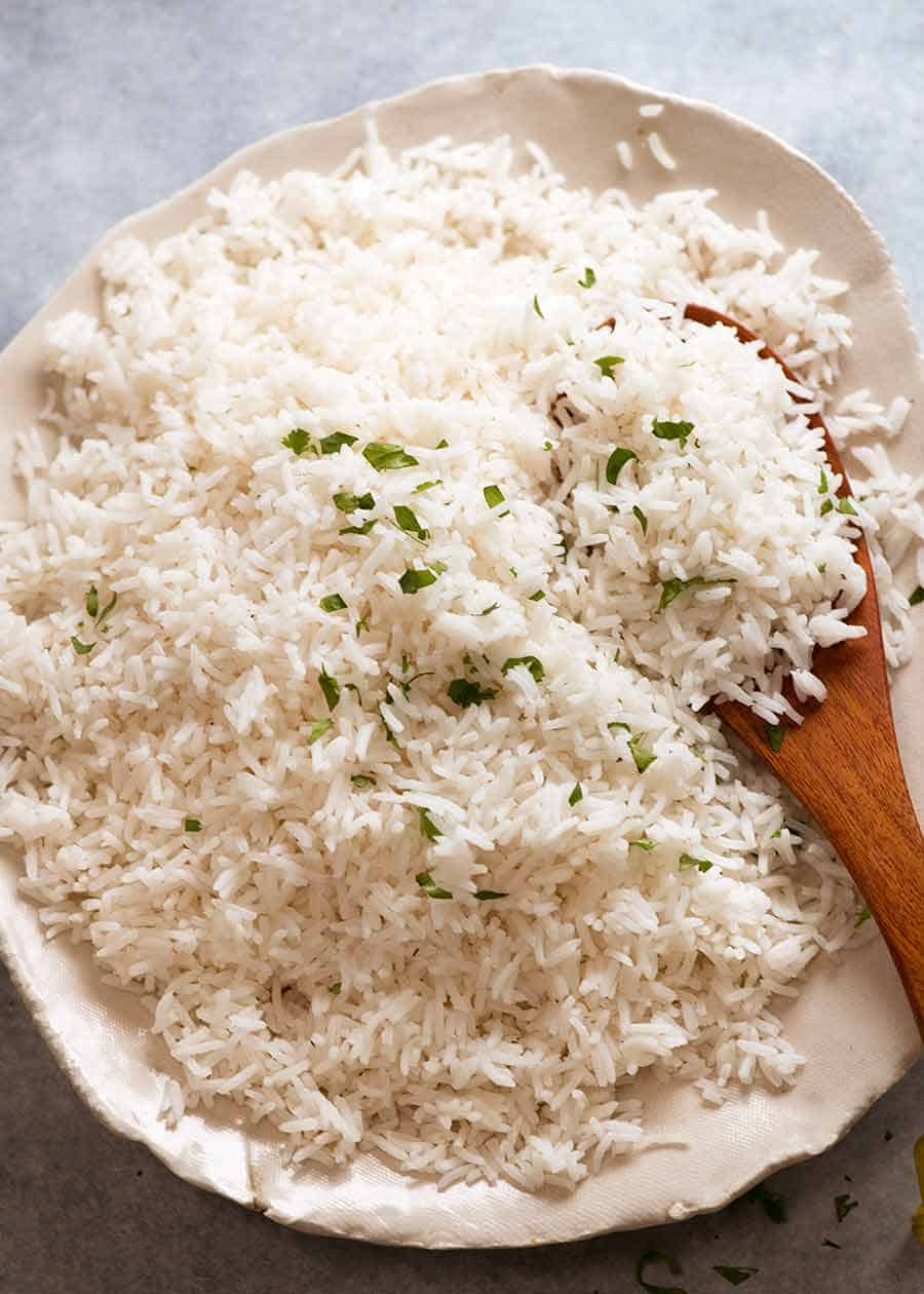 Overhead photo of Basmati Rice in a dish, ready to be served