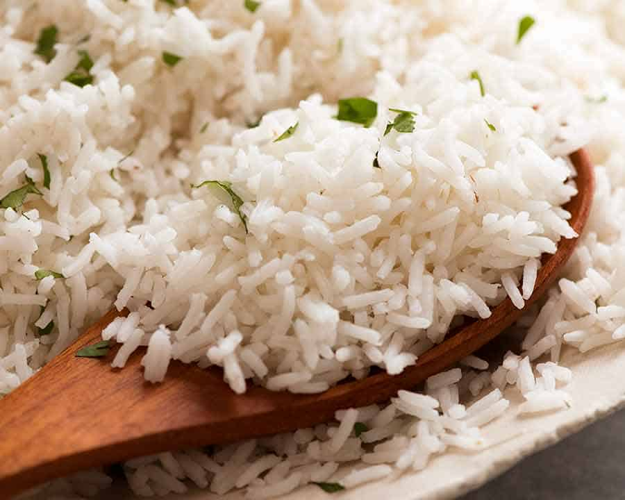 Close up of a pile of fluffy Basmati Rice