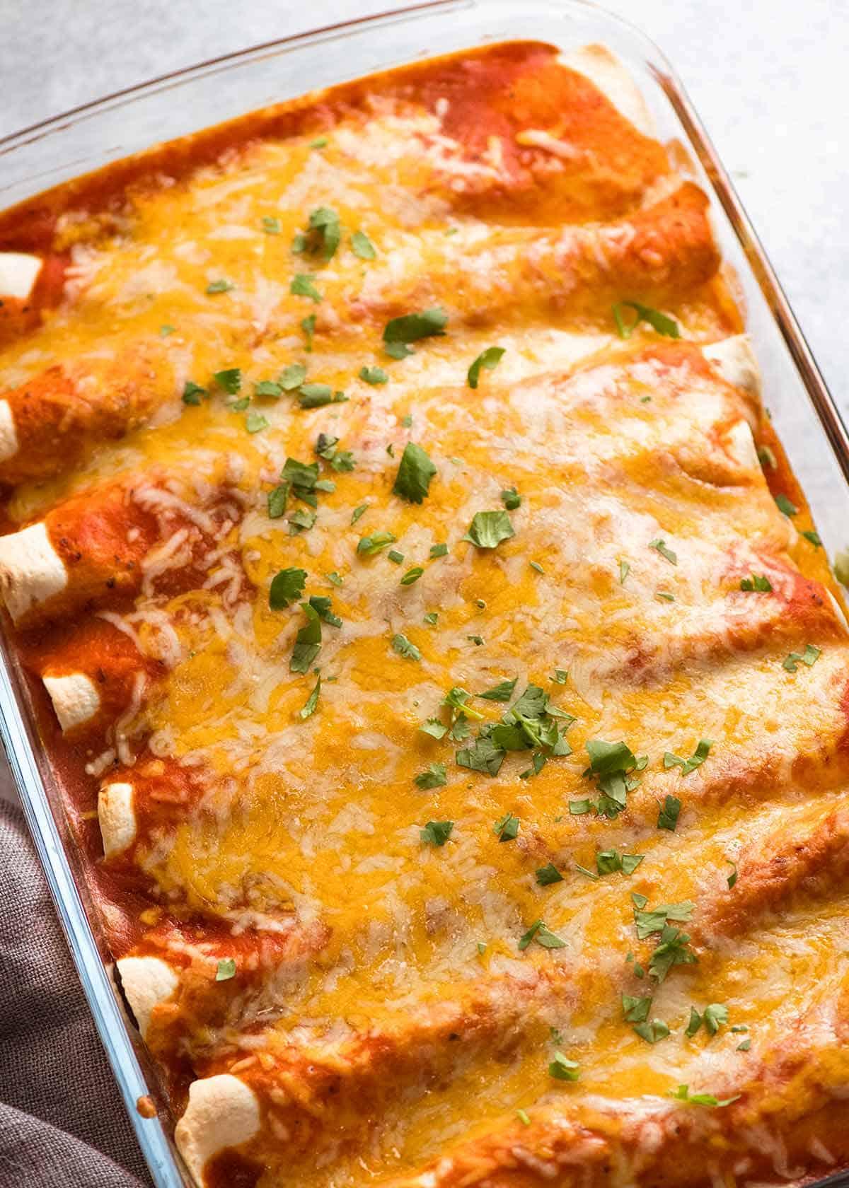 Pan of Chicken Enchiladas