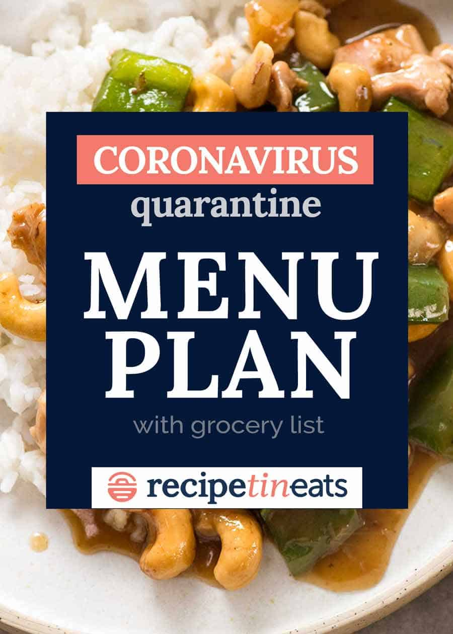 Corona virus quarantine menu plan