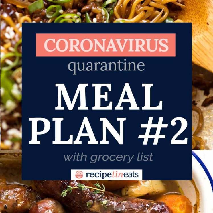 Coronavirus Quarantine Meal Plan #2