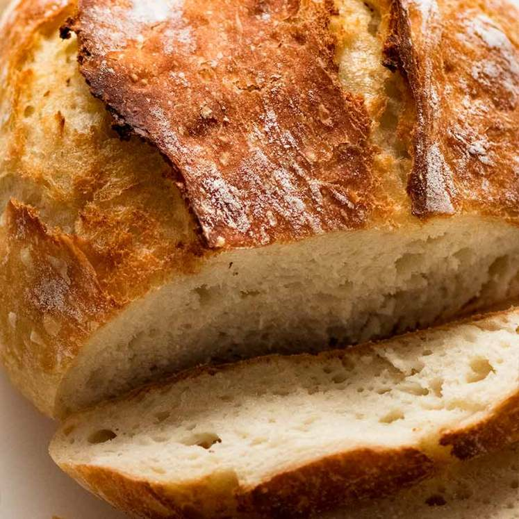 Close up of crispy crust of world's easiest yeast bread fresh out of the oven