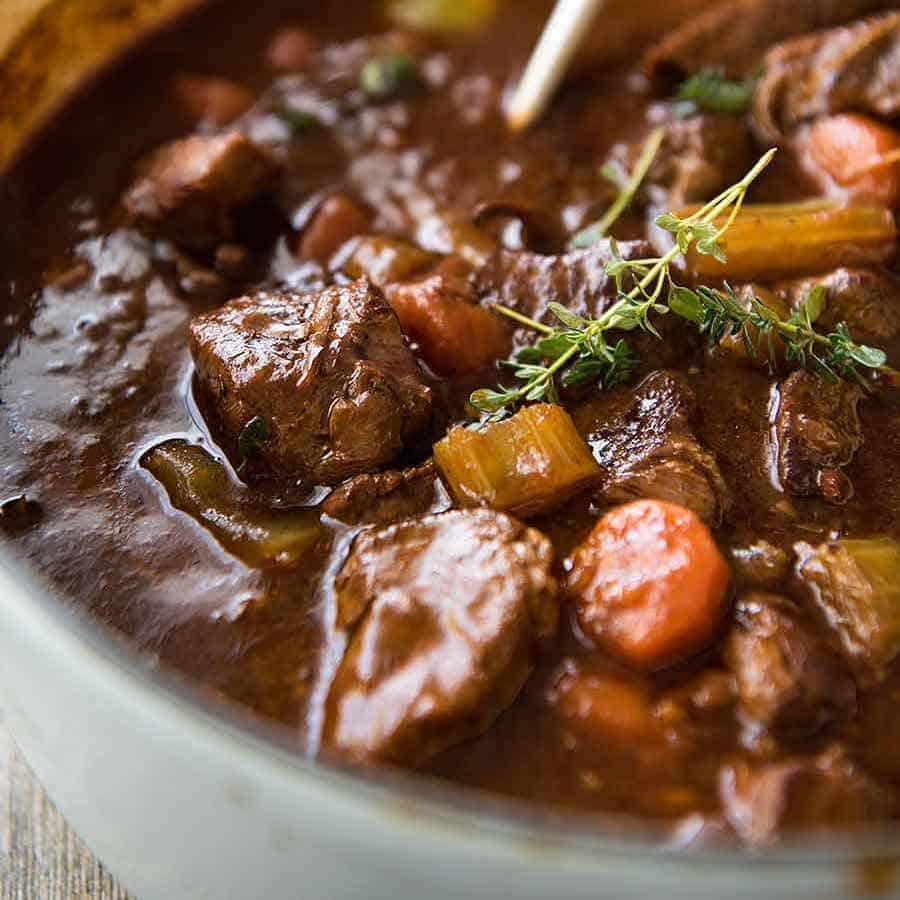 Close up of Irish Beef and Guinness Stew