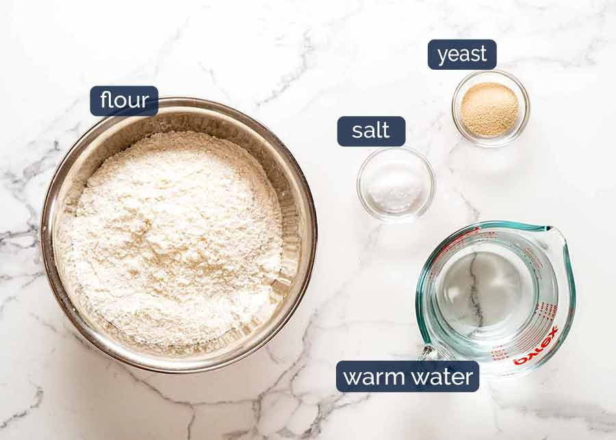 Ingredients in homemade No Knead Artisan style bread
