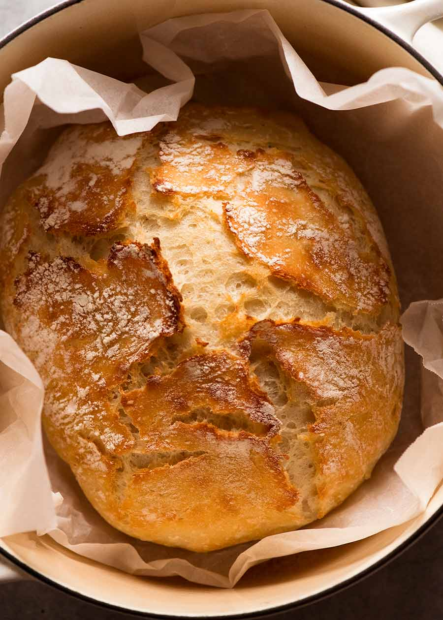 Artisan style no knead bread in a dutch oven, fresh out of the oven