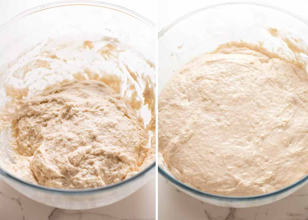 Before and after dough rising for no knead bread - crusty artisan style