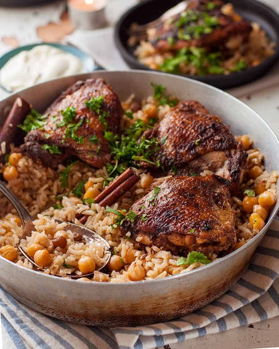 Baked Chicken Shawarma with rice chickpea pilaf read to be served