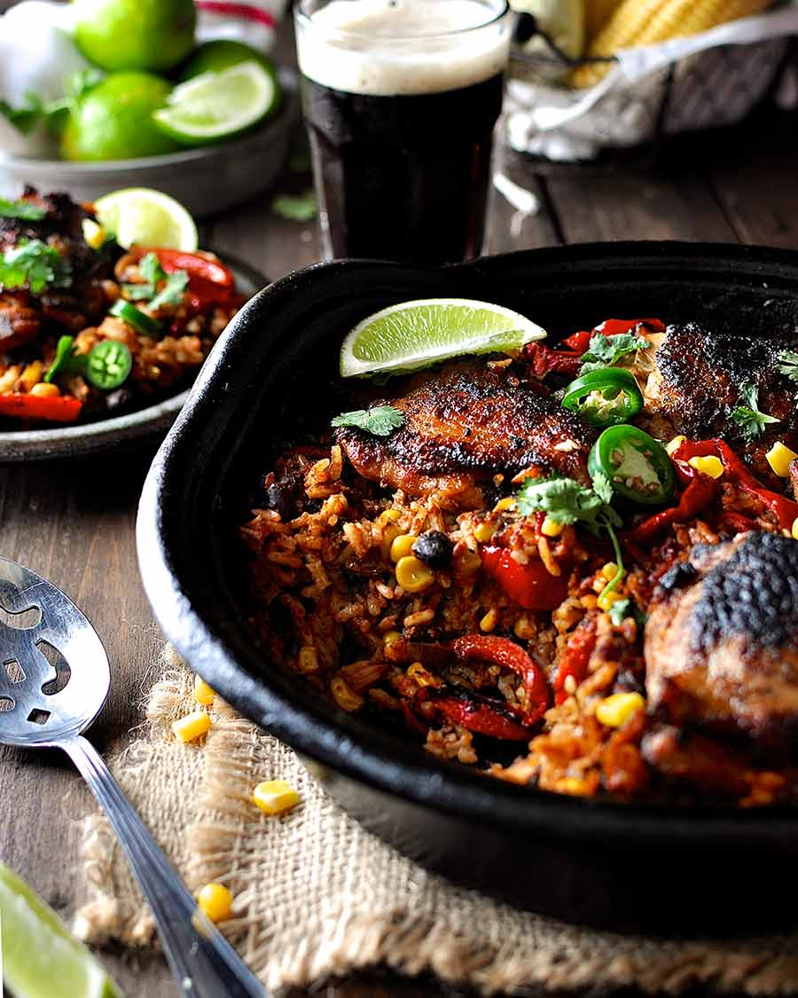 One Pot Mexican Chicken and Rice fresh out of the oven