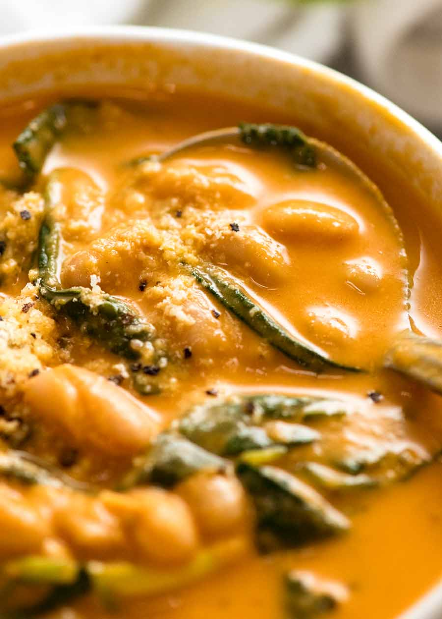Close up of creamy tomato White Bean Soup in a bowl