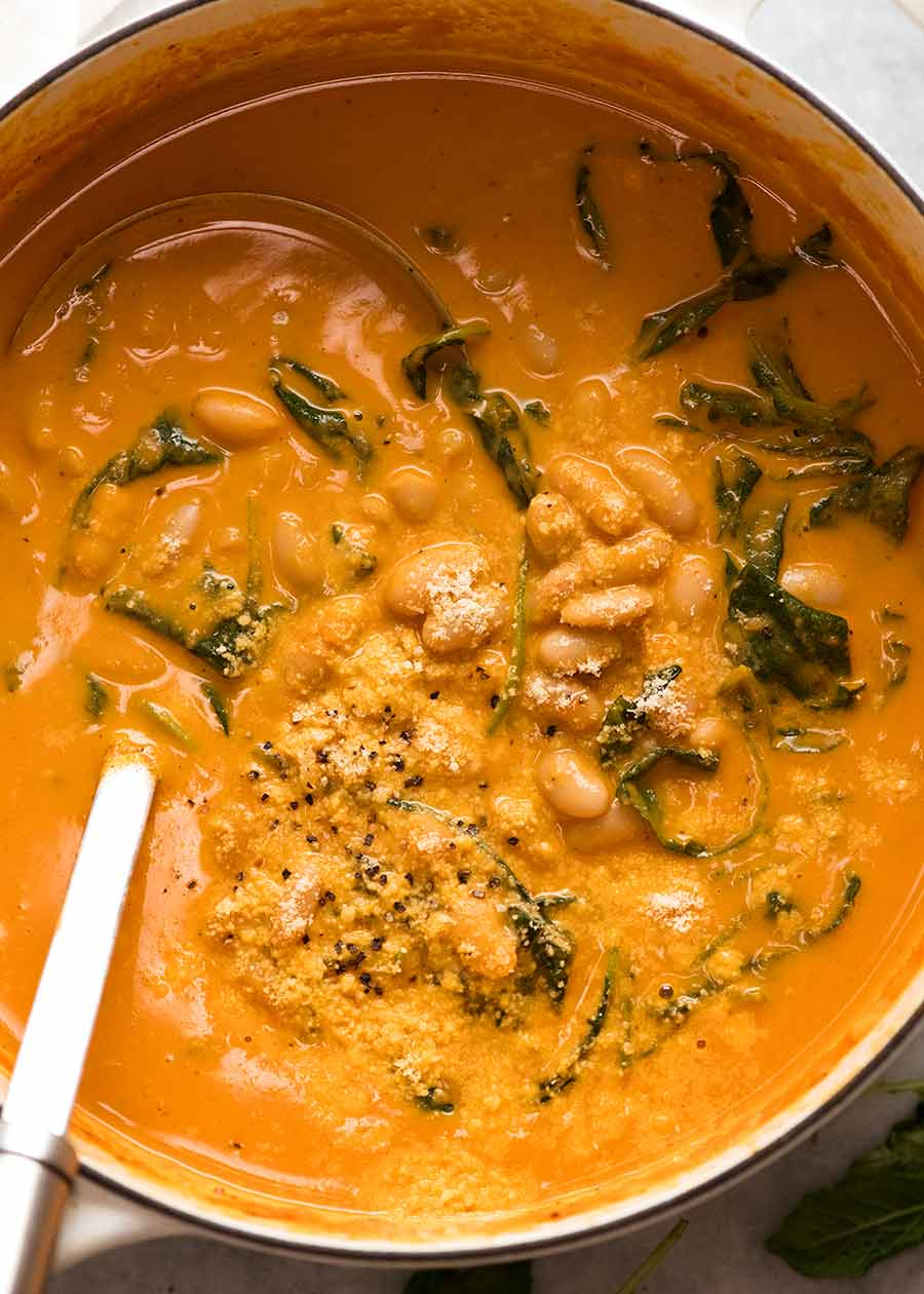 Pot of Creamy White Bean Soup