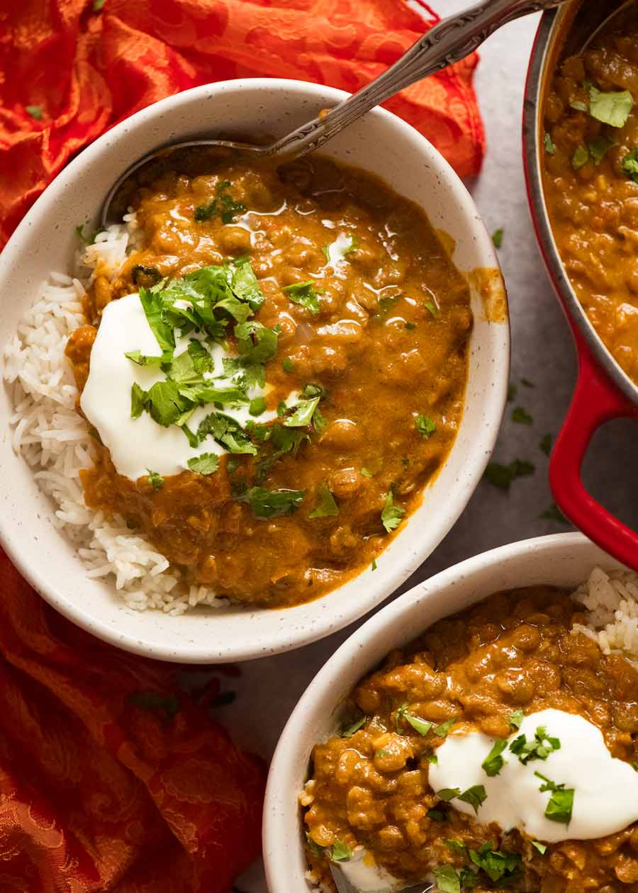Overhead photo of Lentil Curry served over rice, ready to be eaten
