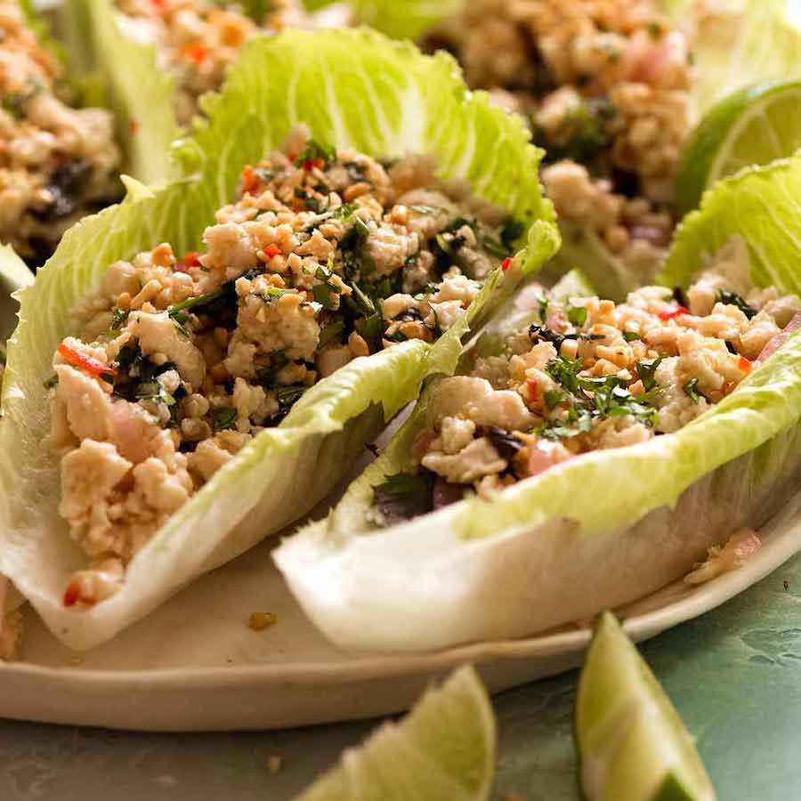 Close up of Thai Lettuce Wraps filled with chicken mince / pork mince filling