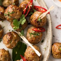 Thai Meatballs on a plate, ready to be eaten