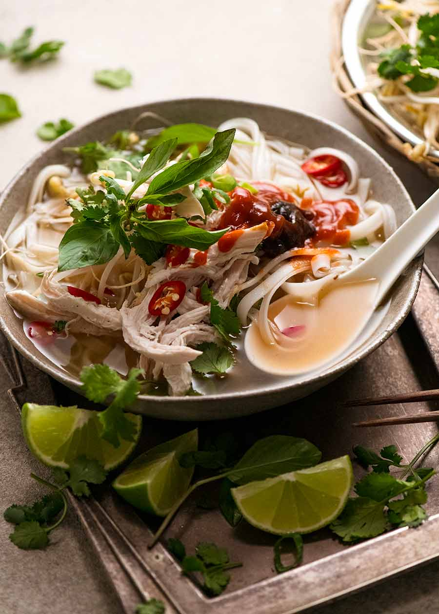 Bowl of Chicken Pho - Vietnamese chicken noodle soup
