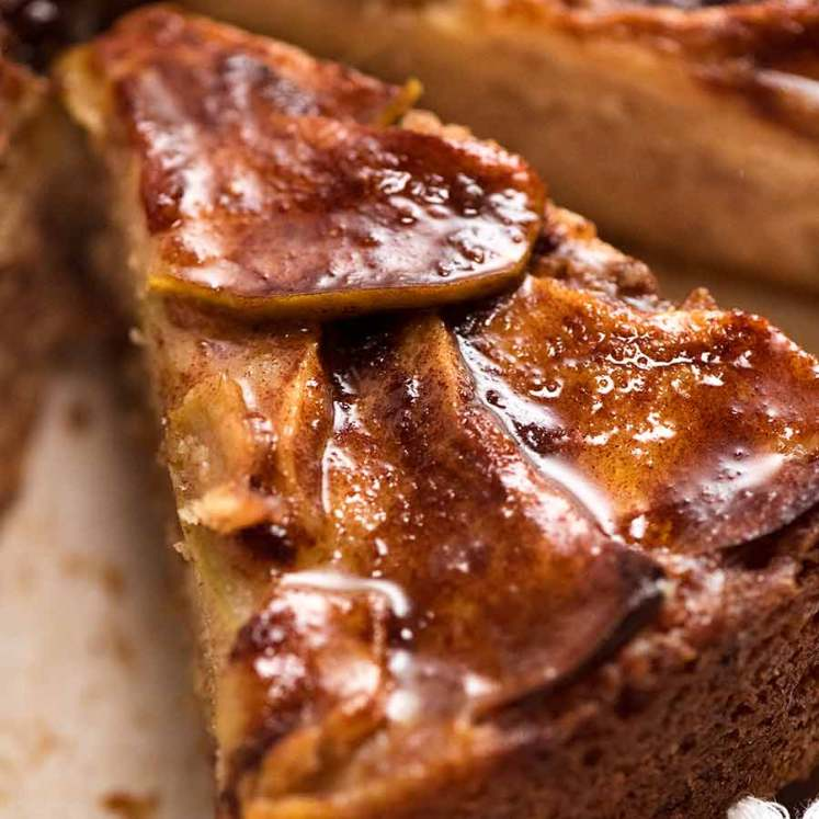 Close up of slice of Cinnamon Apple Teacake
