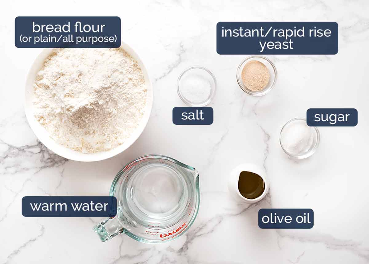 Ingredients in homemade pizza dough