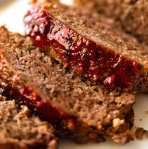 Close up of juicy Meatloaf slices