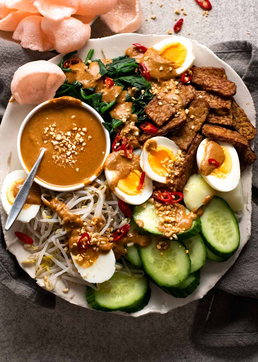 Overhead. photo of Gado Gado - Indonesian Salad with Peanut Sauce