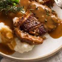 Lamb Loin Chops with Rosemary Gravy