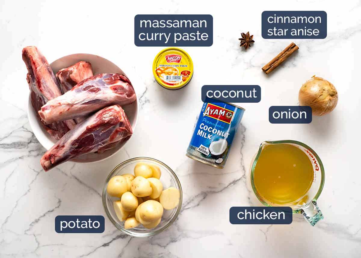 Ingredientes Massaman Curry Shanks