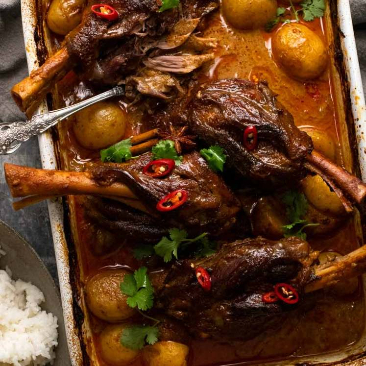 Slow Roasted Lamb Shanks in Massaman Curry