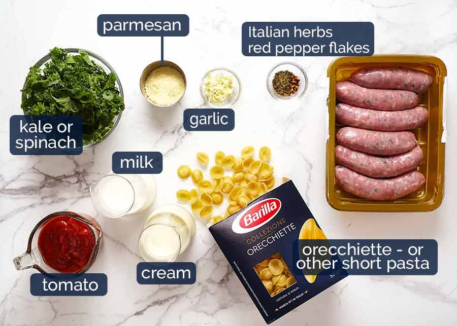 What goes in Orecchiette Sausage Pasta in Creamy Tomato Sauce