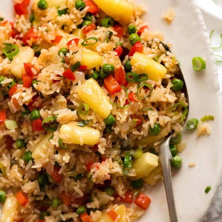 Plate of Pineapple Fried Rice (Thai) ready to be served
