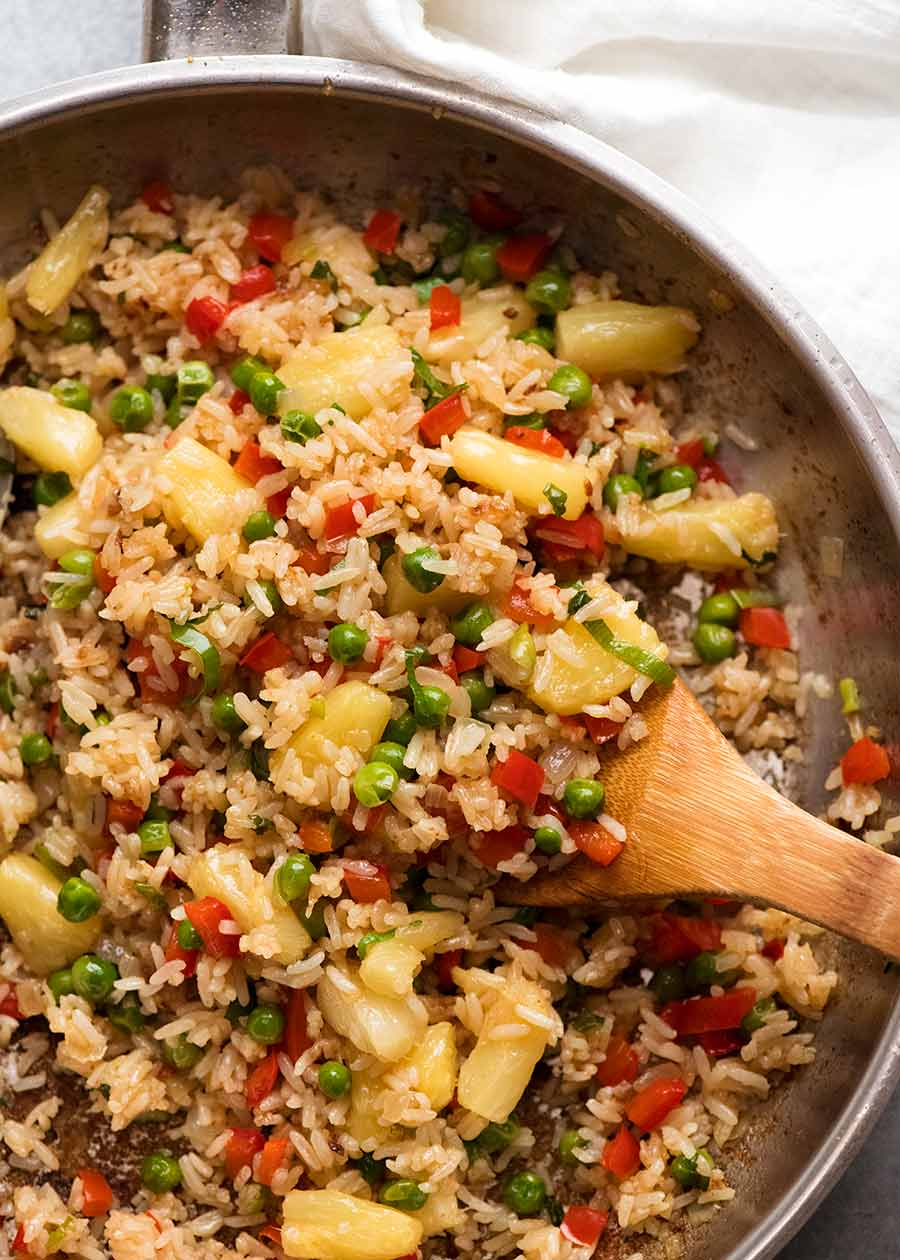 Skillet filled with Pineapple Fried Rice (Thai)
